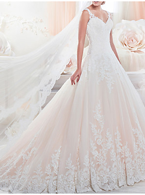 cheap Wedding Dresses-A-Line Wedding Dresses V Neck Chapel Train Lace Tulle Sleeveless Formal with Appliques 2020