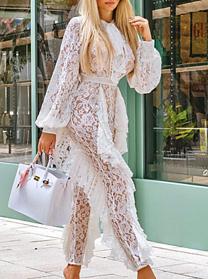 cheap Prom Dresses-Jumpsuits Cut Out Sexy Wedding Guest Prom Dress Jewel Neck Long Sleeve Floor Length Lace with Lace Insert 2020