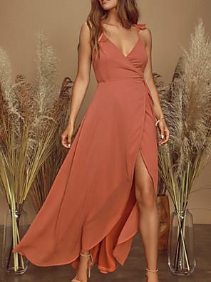 cheap Evening Dresses-Sheath / Column Maxi Boho Holiday Party Wear Dress V Neck Sleeveless Asymmetrical Chiffon with Ruffles Split 2020