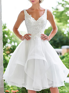 cheap Wedding Dresses-A-Line Wedding Dresses V Neck Knee Length Lace Organza Sleeveless Vintage 1950s with Appliques Cascading Ruffles 2020