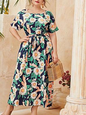 preiswerte Für Junge Frauen-Damen A-Linie Kleid Maxikleid - Kurze Ärmel Blumen Sommer Büro 2020 Blau XXXL XXXXL XXXXXL XXXXXXL