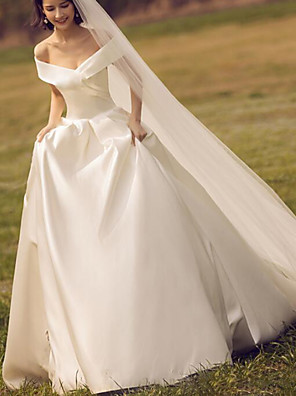 cheap Wedding Dresses-Ball Gown A-Line Wedding Dresses Off Shoulder Floor Length Satin Sleeveless Simple with Ruched 2020