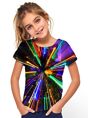 cheap Boys' Tops-Kids Girls' Basic Holiday Geometric Short Sleeve Tee Rainbow