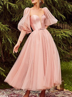 cheap Evening Dresses-A-Line Elegant Beautiful Back Wedding Guest Prom Dress Sweetheart Neckline Long Sleeve Ankle Length Tulle with Bow(s) 2020