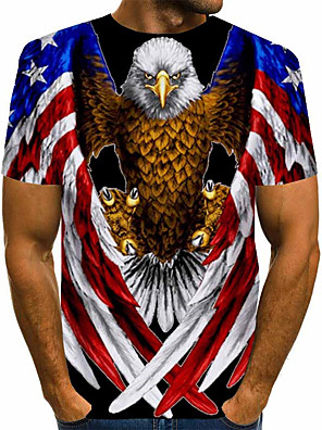 cheap Men's Tees-Men's Tee T shirt Shirt Graphic Eagle American Flag Animal Plus Size Print Short Sleeve Daily Tops Basic Designer Exaggerated Big and Tall Round Neck Blue Red Rainbow