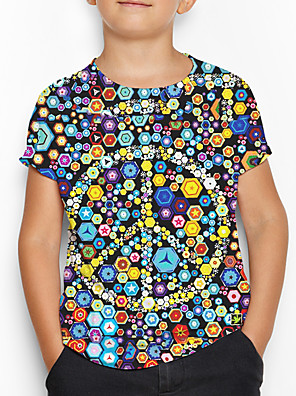 cheap Boys' Tops-Kids Boys' Sports & Outdoors Basic Holiday Geometric Print Short Sleeve Tee Rainbow