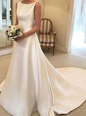 cheap Wedding Dresses-A-Line Wedding Dresses Jewel Neck Court Train Satin Sleeveless Simple with Bow(s) 2020