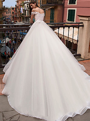 cheap Wedding Dresses-Ball Gown Wedding Dresses Off Shoulder Chapel Train Lace Tulle Short Sleeve with Appliques 2020
