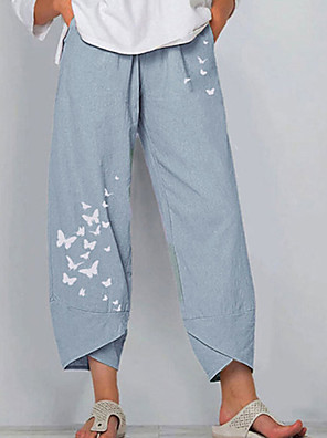 cheap Women's Blouses & Shirts-Women's Loose Chinos Pants Patterned Blue Green Gray S M L