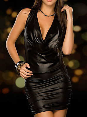cheap Party Dresses-Sheath / Column Little Black Dress Sexy Party Wear Cocktail Party Dress V Neck Sleeveless Short / Mini PU with Sleek 2020