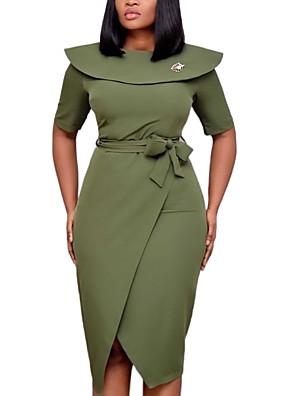 cheap Plus Size Dresses-Women's A-Line Dress Knee Length Dress - Short Sleeve Solid Color Fall Work 2020 Black Army Green Fuchsia Orange S M L XL XXL XXXL