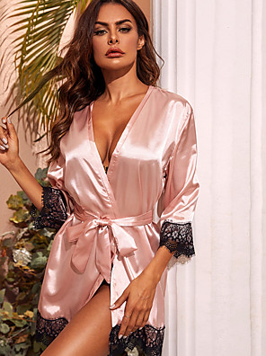 cheap Suits-Women's Lace Bow Robes Satin & Silk Nightwear Patchwork Solid Colored Purple / Blushing Pink S M L