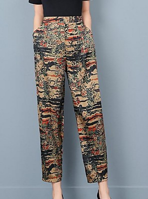 cheap Women's Blouses & Shirts-Women's Basic Loose Chinos Pants Floral Beige XL XXL XXXL