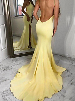 cheap Evening Dresses-Mermaid / Trumpet Beautiful Back Sexy Engagement Formal Evening Dress V Neck Sleeveless Court Train Stretch Satin with Split 2020