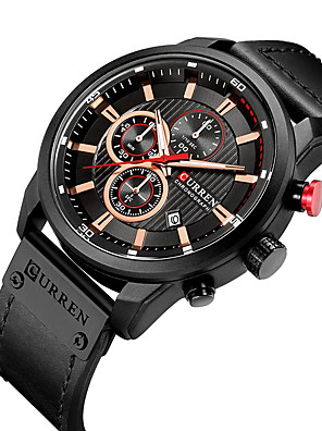 cheap Sport Watches-CURREN Men's Dress Watch Quartz Formal Style Modern Style Luxury Water Resistant / Waterproof Leather Black / Brown / Chocolate Analog - Black / Silver Black Black / Blue One Year Battery Life