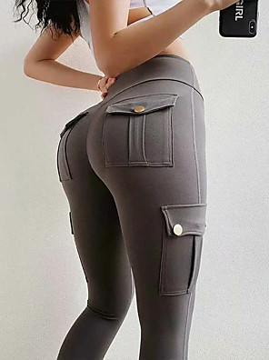 cheap Leggings-Women's Sporty Chinos Pants - Solid Colored Sports Black Gray S / M / L