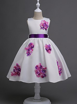 cheap Prom Dresses-Princess / Ball Gown Knee Length Wedding / Party Flower Girl Dresses - Satin Sleeveless Jewel Neck with Sash / Ribbon / Bow(s) / Flower