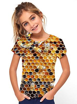 cheap Boys' Tops-Kids Girls' Sports & Outdoors Basic Holiday Jacquard Short Sleeve Tee Yellow