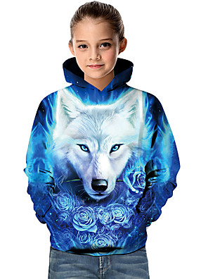 cheap Boys' Tops-Kids Toddler Girls' Active Basic Wolf Geometric 3D Animal Print Long Sleeve Hoodie & Sweatshirt Blue