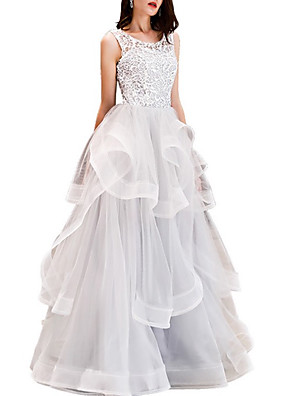 cheap Special Occasion Dresses-Ball Gown Elegant Beautiful Back Quinceanera Prom Dress Jewel Neck Sleeveless Floor Length Lace Tulle with Tier 2020