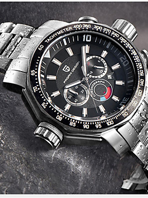 cheap Quartz Watches-PAGANI Men's Steel Band Watches Quartz Modern Style Sporty Casual Water Resistant / Waterproof Stainless Steel Black / Silver Analog - Black / Silver White+Gold Black / Japanese / Chronograph