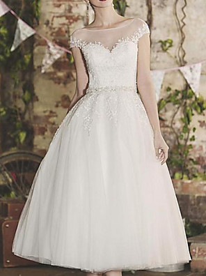 cheap Prom Dresses-A-Line Wedding Dresses Jewel Neck Knee Length Lace Tulle Cap Sleeve Vintage 1950s with Sashes / Ribbons 2020