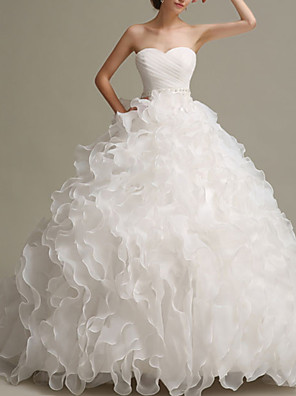 cheap Cocktail Dresses-Ball Gown Wedding Dresses Strapless Floor Length Chiffon Organza Sleeveless Formal with Pick Up Skirt Beading 2020