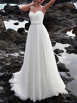 cheap Prom Dresses-A-Line Wedding Dresses Jewel Neck Court Train Chiffon Sleeveless Beach with Lace Insert Appliques 2020