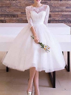 cheap Wedding Dresses-A-Line Wedding Dresses Jewel Neck Ankle Length Lace Tulle Long Sleeve Vintage 1950s with Sashes / Ribbons 2020