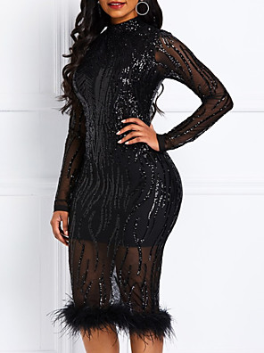 cheap Evening Dresses-Sheath / Column Sparkle Plus Size Homecoming Cocktail Party Dress Jewel Neck Long Sleeve Knee Length Lace Sequined with Sequin Tassel 2020