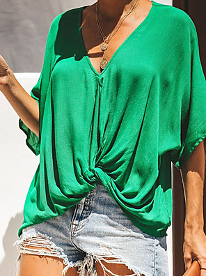 cheap Women's Pants-Women's T-shirt Solid Colored V Neck Tops Loose Cotton Summer White Black Green