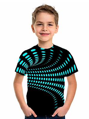 cheap Boys' Tops-Kids Boys' Sports & Outdoors Basic Holiday Jacquard Short Sleeve Tee Black