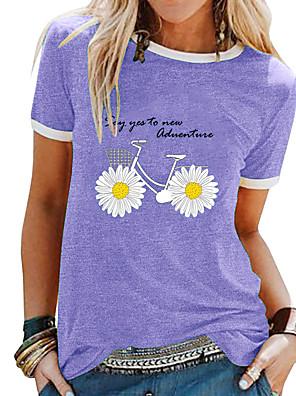 cheap Women's T-shirts-Women's T-shirt Floral Tops Black Purple Blue / Short Sleeve