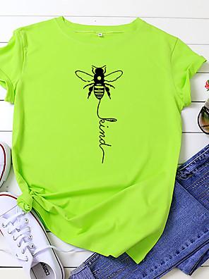 cheap Women's T-shirts-Women's T-shirt Letter Bee Print Round Neck Tops 100% Cotton Basic Basic Top White Yellow Blushing Pink