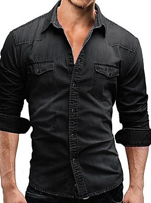 cheap Men's Shirts-Men's Daily Shirt Solid Colored Long Sleeve Tops Denim Button Down Collar Light gray Dark Gray Navy Blue