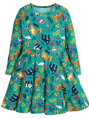 abordables Robes Licorne-Bébé Fille Animal Manches Longues Robe Vert