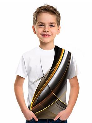 cheap Boys' Tops-Kids Boys' Basic Holiday Geometric Print Short Sleeve Tee White