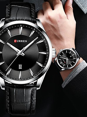 cheap Sport Watches-CURREN Men's Dress Watch Quartz Formal Style Stylish Classic Water Resistant / Waterproof Leather Black / Blue / Brown Analog - White Black Blue One Year Battery Life / Japanese / Luminous / Japanese