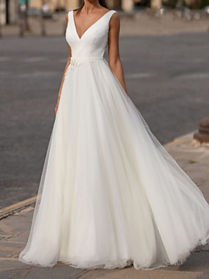 cheap Wedding Dresses-A-Line Wedding Dresses V Neck Sweep / Brush Train Chiffon Tulle Sleeveless Simple with Appliques 2020