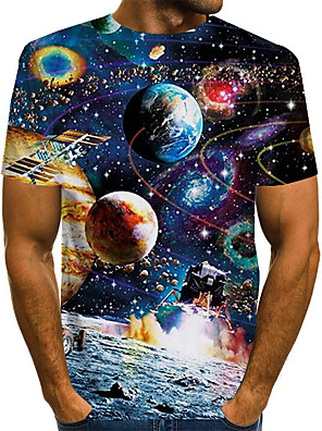 cheap Boys' Tops-Men's Daily Plus Size T-shirt Galaxy Graphic Print Short Sleeve Tops Basic Exaggerated Round Neck Rainbow