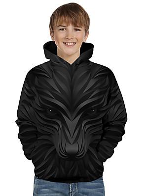 povoljno Majice s kapuljačama i trenirke za dječake-Djeca Dijete koje je tek prohodalo Dječaci Aktivan Osnovni Vuk Geometrijski oblici 3D Životinja Print Dugih rukava Trenirka s kapuljačom Crn