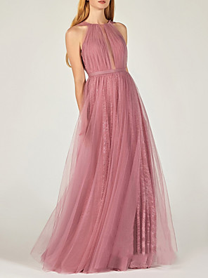 cheap Evening Dresses-A-Line Minimalist Sexy Engagement Formal Evening Dress Jewel Neck Sleeveless Floor Length Tulle with Pleats 2020