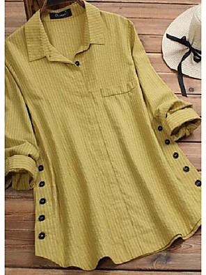 cheap Women's Blouses & Shirts-Women's Shirt Striped Shirt Collar Tops Loose Yellow Army Green