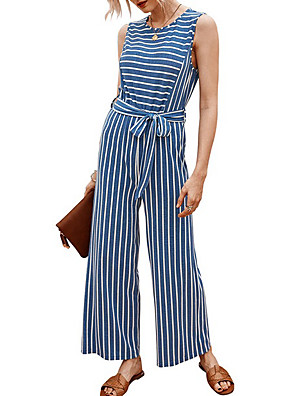 cheap Plus Size Dresses-Women's Blue Blushing Pink Jumpsuit Onesie, Striped S M L Cotton