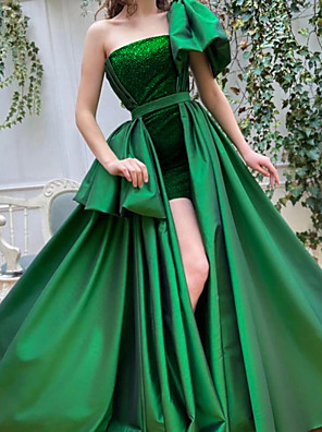 cheap Evening Dresses-Ball Gown Empire Luxurious Engagement Formal Evening Dress One Shoulder Short Sleeve Sweep / Brush Train Satin with Overskirt 2020