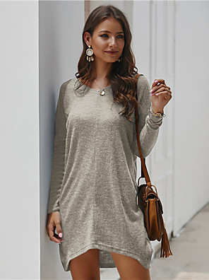cheap Maxi Dresses-Women's Tunic Solid Colored V Neck Tops Loose Cotton Basic Fall Winter White Black Blue / Long Sleeve