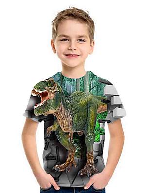 cheap Boys' Tops-Kids Boys' Basic Fantastic Beasts Dinosaur Animal Print Short Sleeve Tee Green