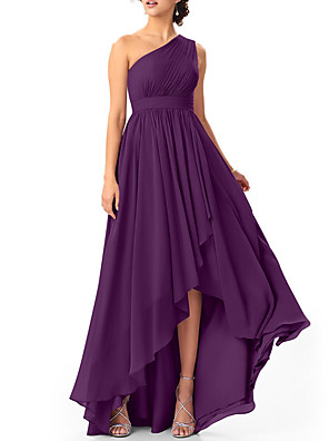 cheap Bridesmaid Dresses-A-Line One Shoulder Asymmetrical Chiffon Bridesmaid Dress with Pleats