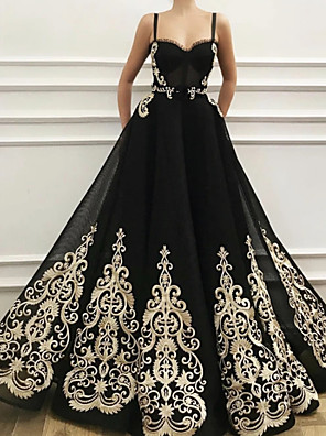 cheap Evening Dresses-A-Line Elegant Floral Engagement Prom Dress Sweetheart Neckline Sleeveless Floor Length Tulle with Appliques 2020