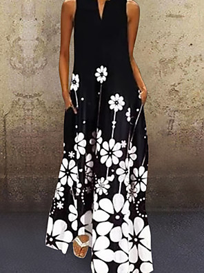 cheap Casual Dresses-Women's A-Line Dress Maxi long Dress - Short Sleeve Floral Summer V Neck Casual Chinoiserie Loose 2020 White Black Yellow S M L XL XXL XXXL XXXXL XXXXXL
